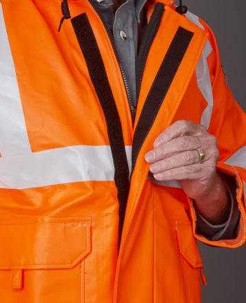 MANTEAU IMPERMEABLE A CAPUCHON CSA HQ  ARC FLASH 16 CAL. ORANGE CL3 AVEC BANDES HAUTE VISIBILITÉ