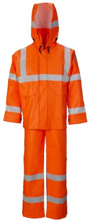 MANTEAU IMPERMEABLE A CAPUCHON CSA HQ HRC2 ARC FLASH 16 CAL. ORANGE CL3 AVEC BANDES HAUTE VISIBILITÉ